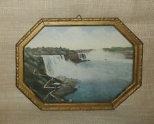 Antique Vintage NIAGARA FALLS Print in METAL FRAME wirh GLASS