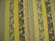 "12 JELLY ROLL STRIPS  LEMON & GREY  44"" X 2.5""  100% COTTON PATCHWORK/QUILT LG2"