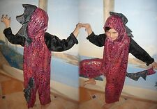 DRAGON DINO COSTUME HANDMADE USA 116-122 UNIQUE Red black Dragon costume