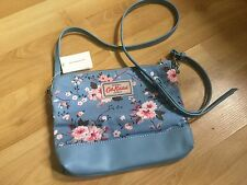 ORIGINAL Cath Kidston London Handbag Sling Light Blue Floral Cotton Leather