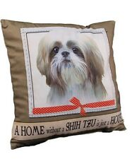 Shih Tzu Throw Pillow A Home Without is Just a House Dog Tan White Puppy Cut New