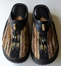 Born Leather Indian Wool Blanket Slides Clogs Shoes Aztec Womens 7 Gently Used