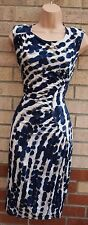 MARKS SPENCER WHITE BLUE ABSTRACT LEOPARD PENCIL RUCHED SIDE TUBE DRESS 10 S