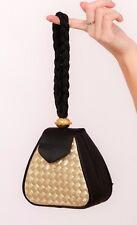 Vintage black satin woven gold lurex hard case box bag evening bag with gold orb