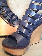 Diane Von Furstenberg DVF Lexington Blue Leather Platform Shoes Size 9.5