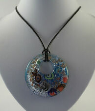"Handmade Silver Foil Glass Round Pendant & 18"" Black Leather Cord Necklace."