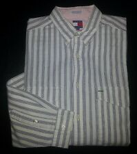 c702 M White Blue-Gray Stripe TOMMY HILFIGER Blue Crest Logo Casual Dress Shirt