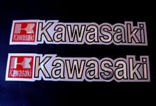 3D red / white / chrome KAWASAKI stickers decal - set of 2 pieces