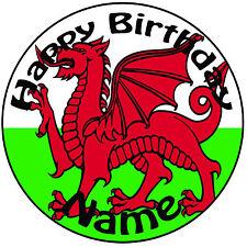 """Personalizado De Cumpleaños Galés Dragón Bandera Redondo 8"""" fácil Precortada Glaseado Cake Topper"""