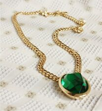 Costume Statement Necklace Mi Long Gold Pendant Green Emerald Oval Retro DDZ1