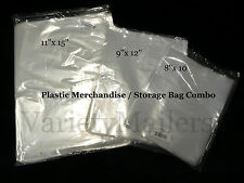 "60 CLEAR PLASTIC MERCHANDISE / STORAGE BAG VARIETY PACK  8""x10"" 9""x12"" 11""x15"""