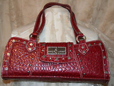 BABY PHAT CROCO EMBOSSED SHOULDER HANDBAG BURGANDY W/SILVER TRIM GENUINE