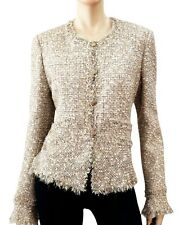 CHANEL '05 Metallic Boucle Fringed Ruffled-Slv Cropped Blazer Jacket 44/8 ~ WOW!