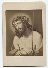 ANTIQUE CDV PHOTO OF PAINTING OF CHRIST WITH CROWN OF THORNS BY GUIDO RENI