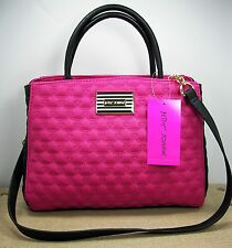 Betsey Johnson Fushia Pink&Black Quilted Heart Faux Leather Bowler Satchel Purse