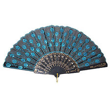 Chinese Japanese Folding Peacock Hand Fan Bead Fabric Us Seller Decor New N3