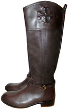 $495 TORY BURCH SIMONE Riding Boot Tall Flat Equestrian Bootie 9- 39 Brown Logo