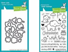 LOT Lawn Fawn Elphie Selfie Clear Stamp and Die Set LF1328 & LF1329   Elephants