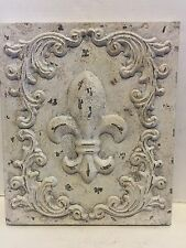 "White Fleur de Lis Metal Plaque Tuscan Chic Saint Old World 18"" French decor"