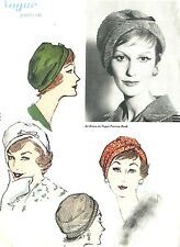 "1960's Sewing Pattern RARE Vogue Fitted Cloche Hat, Separate Bow, Size 21.5"" (D)"