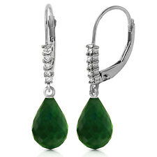 17.75 CTW 14K Solid White Gold Leverback Earrings Natural Diamond Emerald