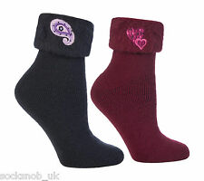 2 Pairs of Ladies warm fluffy luxury bed socks, Navy / burgundy 4-8 uk, 37-42 eu