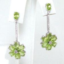 Sterling Silver Green Peridot CZ Accent Dangle Flower Earrings