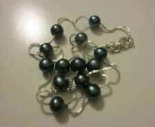 """Freshwater pearls black blue sterling silver chain 18"""" necklace"""