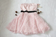 NWT Forever 21 Party Dress Strapless Pink Bow Rose Flower Mesh Holiday Size S