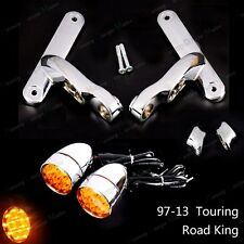 Auxiliary Brackets&LED Turn Signals Lens For Harley Touring Road King FLHR 97-13