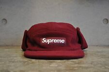 Supreme Polartec Fleece Earflap Burgundy Box Logo Camp Cap