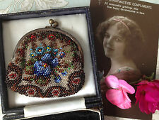 Antique Victorian c1890 Pretty Micro Beaded Change Coin Purse. Colourful Floral