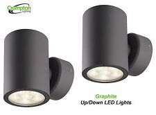 2 x Crompton LED Up/Down Outdoor Wall Light - Graphite 240V - Integral LEDs