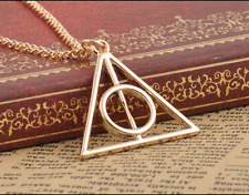 Harry Potter Deathly Hallows Pendant Necklace Gold colour Piece Exquisite piece