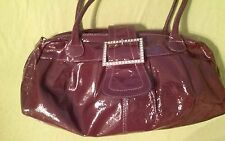 Nordstrom purple patent leather bag with bling buckle