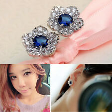 Women Chic Royal Blue Crystal Rose Flower Sliver Ear Stud Earring Party Jewelry