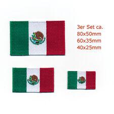 3 Mexico Mexiko Flaggen Patches Mexiko-Stadt Flags Aufnäher Aufbügler Set 0954