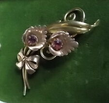 Calla Lily Flower Glass Rhinestones Brooch Rose Yellow Gold Filled Van Dell