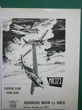 1950'S PUB AERONAUTICA MACCHI VARESE MB 323 AVION ECOLE ITALIAN AIR FORCE ADVERT
