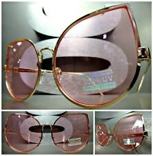 OVERSIZED VINTAGE 70's RETRO CAT EYE Style SUN GLASSES Rose Gold Frame Pink Lens