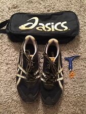 Asics Mens Black/Silver/Yellow Spike Track Shoes, Size 11