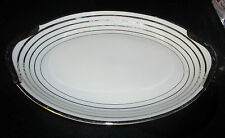 Warwick China USA Elegant Serving Meat Platter Plate Platinum Silver Eggshell