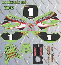 kawasaki KX 65 00-17 KLX 110 02-09 COMPLETO SET GRAFICO DECALCOMANIA