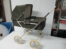 Vintage Baby Doll Buggy Carraige Brown Stroller Wheels Hood Folds