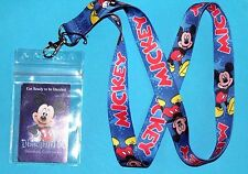 DISNEY MICKEY MOUSE LANYARD PIN  FASTPASS ID HOLDER ZIPLOCK BADGE KEY MP3