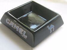 CAMEL ASHTRAY Glossy Black Square Ceramic with Blue Camel Cigarette Ashtray 1997