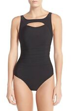 MAGICSUIT MIRACLESUIT Fiona Peek a Boo Ruched One Piece Swimsuit Black Sz 16
