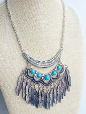 Silver Tibet Indian tassel Hippy Bohemian Turquoise Feather Gypsy Necklace Xmas