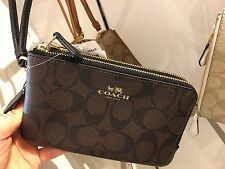 NWT Coach Signature PVC Double Corner Zip Wristlet F66506 - Brown / Black
