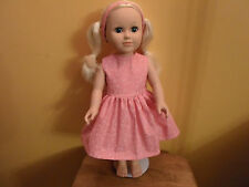 18 inch dress and headband pink with white flower print set outfit USA custom